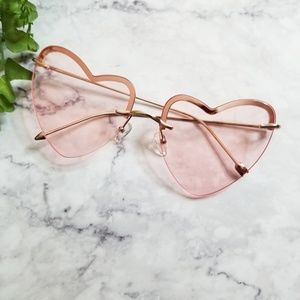 DIFF | Remy Pink Heart Shaped Rimless Sunglasses